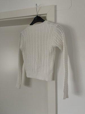 Weißer gerippter Pullover Pulli Oberteil Gr. XS/S