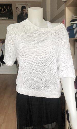 H&M Sweter z krótkim rękawem biały