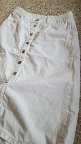 Weißer Jeansrock mit Knopfleiste
