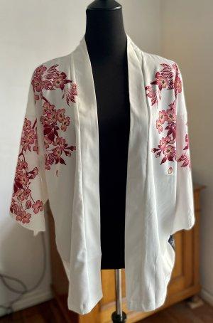 Weißer Kimono / Jacke / Bluse / Cardigan mit Koi und Cherryblossom