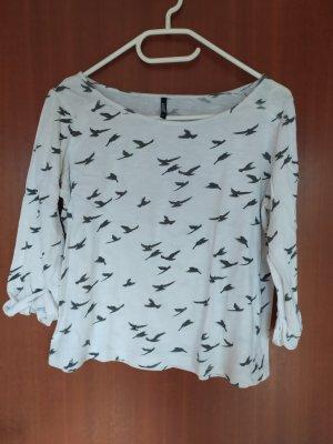 weißer Kurzarm Pullover mit Vogelprint
