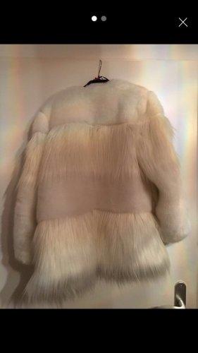 Zara Futrzana kurtka biały