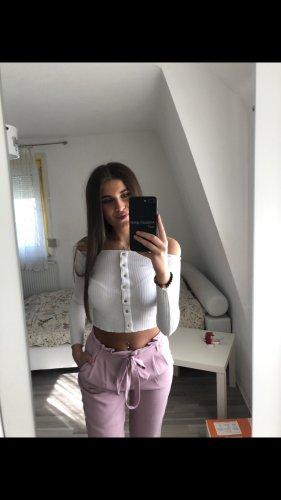 Bershka Długi sweter biały