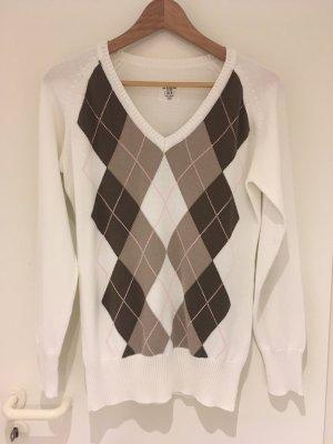 Weißer Pullover mit Argyle-Muster von H&M in Größe 40 (M)