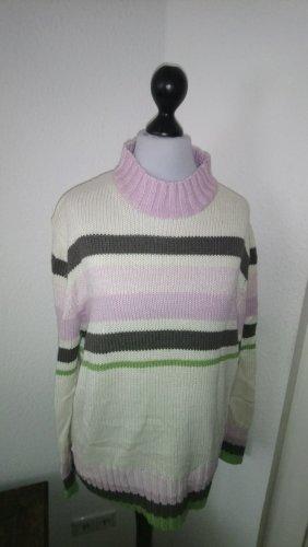 Weißer Pullover mit grün-bruan-rosanen Streifen - Größe 38-40
