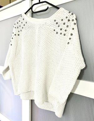 Weißer Pullover mit Nieten Gr.34/XS