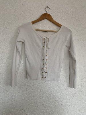 Weißer Pullover mit Schnürungen Gold Details L