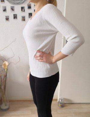 Weißer Pullover mit V-Ausschnitt Jasmin Jonquet