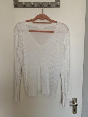 Weißer Pullover mit V Ausschnitt neu