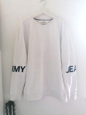 Tommy Hilfiger Sweter oversize biały-ciemnoniebieski
