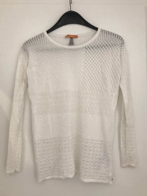 BOSS HUGO BOSS Sweter z okrągłym dekoltem w kolorze białej wełny