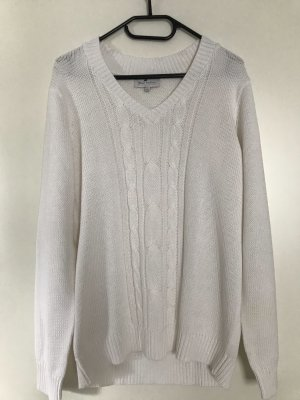 Blue Motion Warkoczowy sweter biały