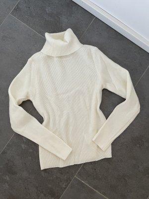 Weißer Ripped Pullover Pulli Rollkragen