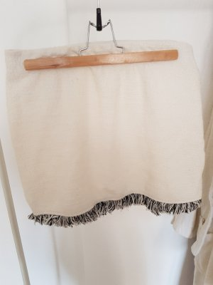 Zara Fringed Skirt white-black