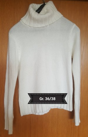 Weißer Rollkragenpulli Gr. 36/38