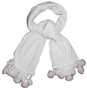 weißer Schal mit Pommlen, 180x53 cm, 100% feinste Wolle