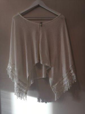 Clockhouse Poncho in maglia bianco