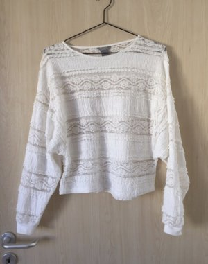 Weißer Spitzen-Pullover