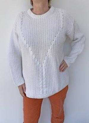 Dibari Pullover a maglia grossa bianco Cotone