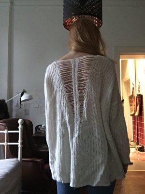 Weißer Strickpullover sweater mit V Ausschnitt wolle Look creme Pullover strick grobgestrickt Pulli Rückenausschnitt