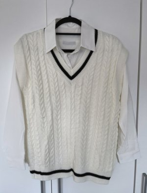 SheIn Fine Knitted Cardigan white-black