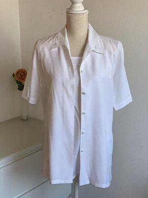 Weißer Vintage Zweiteiler: Top + Bluse
