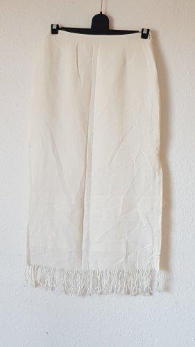 Promod Falda con flecos blanco puro