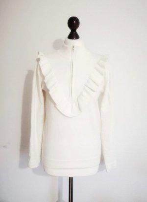 Weißer weicher cremeweißer Rüschen Pullover V Schnitt Minimum