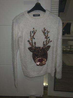 Weißer Weihnachtsstrickpullover