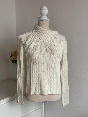 Weißer Winterpulli dicker Pullover mit Fransen Kragen Pulli