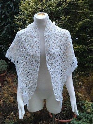weisser Woll Poncho Handarbeit Wolle Strick Pullover Jacke Vintage