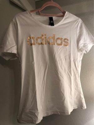 Weißes Adidas T-Shirt mit rosegoldener Schrift