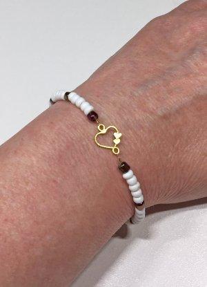 weißes Armband mit Herz, 17 cm lang