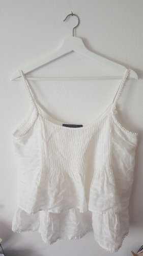 Zara Basic Robe péplum blanc coton