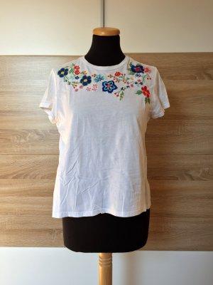 Weißes Basic Blumen Stickerei T-Shirt von Mango, Gr. S