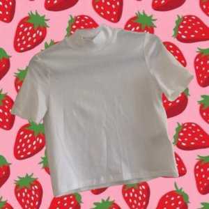 weißes basic cropped T-Shirt