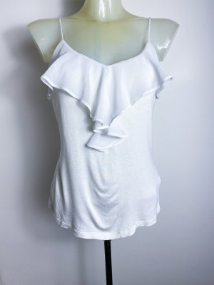weißes Basic Shirt - Rüschen