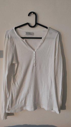 Weißes Basicshirt mit Knopfleiste