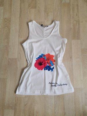 Weißes Baumwoll Shirt mit Rot Blauen Blumen