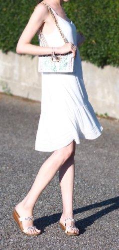 Weißes Baumwoll-Sommerkleid, gefüttert, dünne Träger, Midilänge, 34/ XS, wie neu