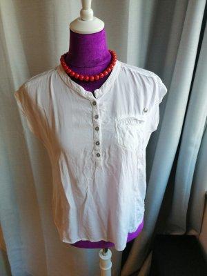 Weißes Blusen Shirt mit Bubikragen und Knopfleiste