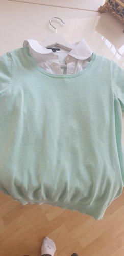Blusa con collo alla coreana bianco-menta