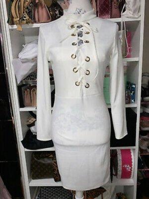 Weißes Bodycon Kleid Schnürren engelsgleich