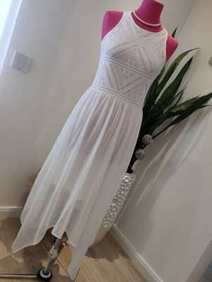 H&M Divided High Low Dress white chiffon