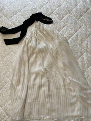 H&M Vestido de chifón blanco-negro