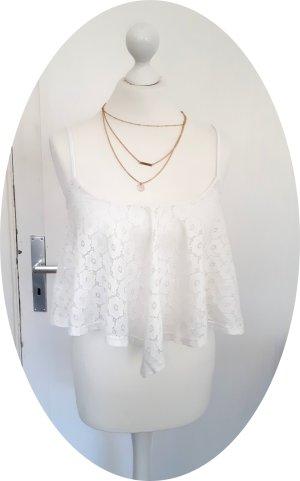 Weißes Crop-Top aus Spitze von New Look