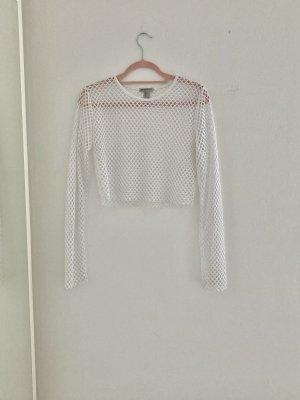 Weißes cropped Langarmshirt
