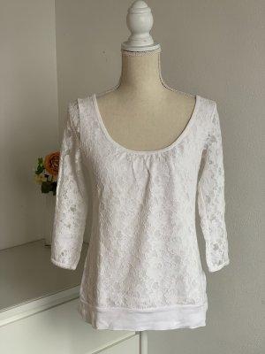 Weißes Dreiviertelarm Shirt mit Spitze von H&M Logg Gr. M