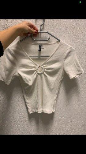 Weißes geripptes crop T-Shirt