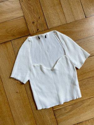 Weißes geripptes Shirt mit Herzausschnitt XS